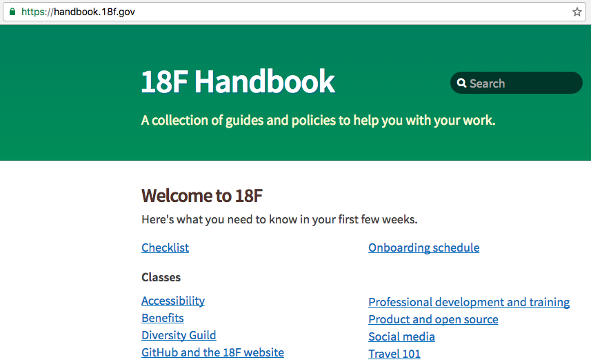 Front page of the 18F Handbook