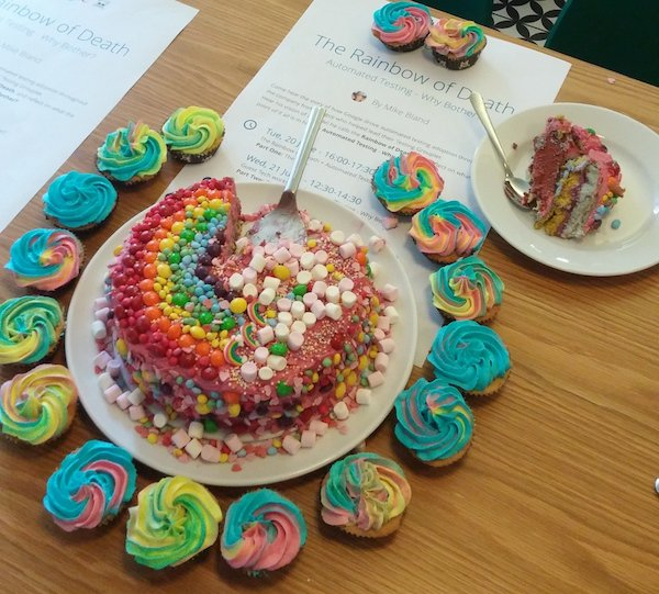 """The Rainbow of Death—By Diabetes"" cupcakes and layer cake from June 20, 2017"
