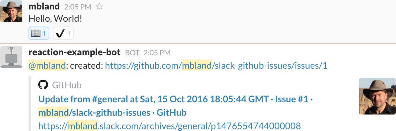 Example slack-github-issues Hubot plugin usage