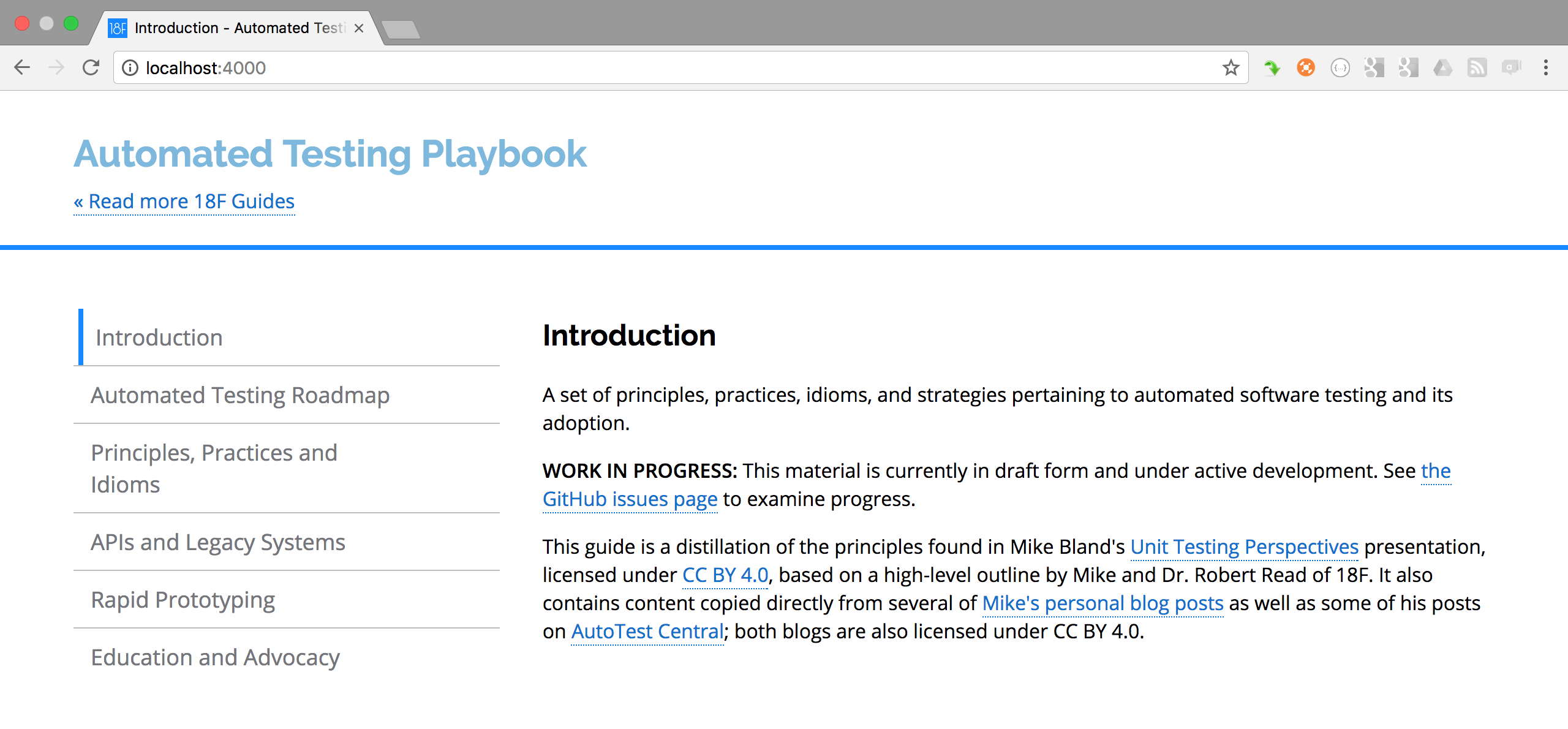 Front page of the Automated Testing Playbook