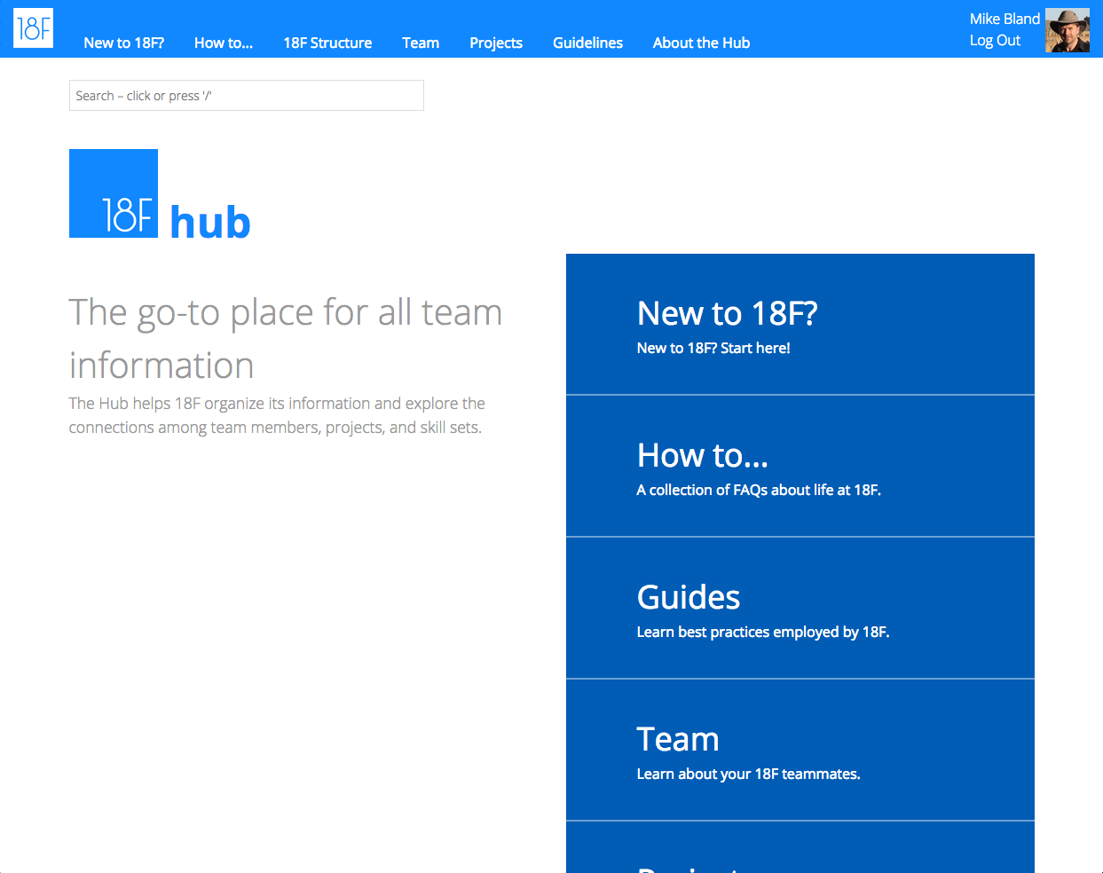 The front page of The Hub