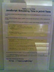 "Mid-2006 pre-standard template Testing on the Toilet, ""JavaScript: Simulating Time in jsUnit Tests"""